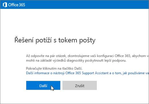 Snímek obrazovky, na kterém je začátek poradce při potížích s tokem pošty s vybraným tlačítkem Další