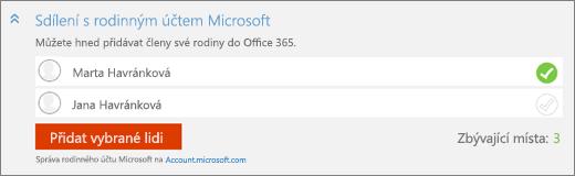 """Snímek obrazovky s detailem oddílu """"Sdílet s rodinným účtem Microsoft"""" dialogového okna """"Přidat člena"""" s tlačítkem """"Přidat vybrané uživatele"""""""