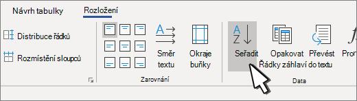 Tlačítko Seřadit po výběru tabulky