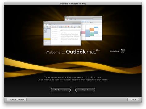Úvodní obrazovka Outlooku