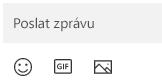 Pod polem se zprávou jsou tlačítka pro vložení Emoji, souboru GIF nebo obrázku.