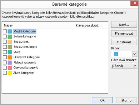 Dialogové okno Barevné kategorie