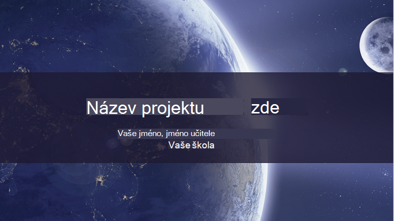 Snímek obrazovky se zprávou o slunečním systému