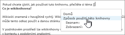 Vložení odkazu na wikiweb