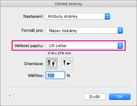 Formát papíru můžete vybrat v seznamu Formát papíru. Můžete také vytvořit vlastní formát.