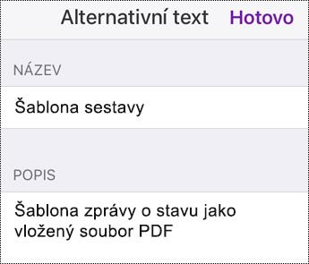 Přidání alternativního textu k vloženému souboru ve OneNotu pro iOS