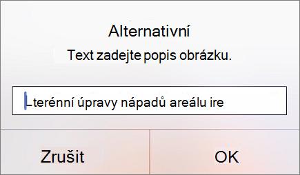 Nabídka pro alternativní text pro obrázek v Outlooku pro iOS