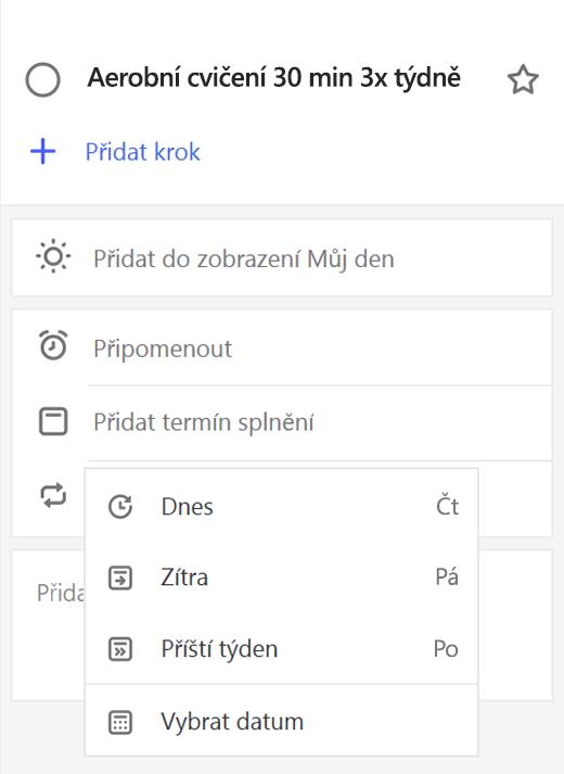 Snímek obrazovky zobrazující podrobnosti zobrazit přidat splatnosti vybraná data.