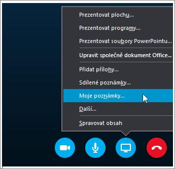Snímek obrazovky s postupem sdílení poznámek OneNotu 2016 ve Skypu pro firmy.