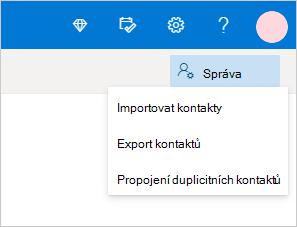 Nabídka Správa kontaktů ve službě Outlook.com