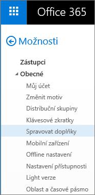 Snímek obrazovky s částí Obecné v nabídce Možnosti v Outlooku se zvýrazněnou možností Spravovat doplňky