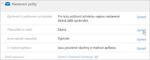 Snímek obrazovky: Zvolte upravit pro nastavení předávání e-mailů