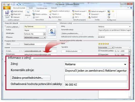 Záznam potenciálního zákazníka se zobrazením oddílu Zdroj