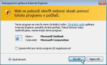 Dialogové okno zabezpečení aplikace Internet Explorer