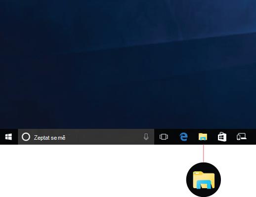 Zobrazuje ikonu Průzkumníka souborů na hlavním panelu.