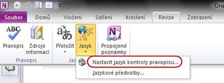 Pás karet aplikace OneNote s položkou Jazyk na kartě Revize