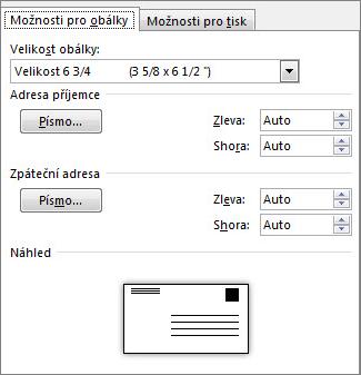Karta Možnosti pro obálky, která umožňuje nastavení velikosti obálky a písem adresy