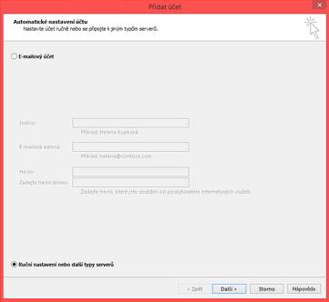Vyberte Ruční nastavení nebo další typy serverů.