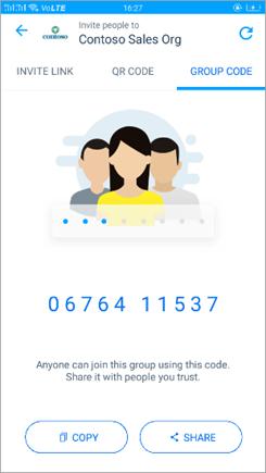 Snímek stránky s kódem skupiny v Kaizala