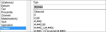 Dialog Formát buněk, vlastní příkaz, [h]: mm typ