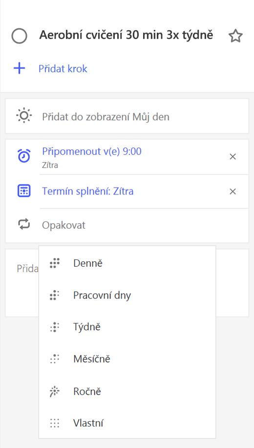 Snímek obrazovky zobrazující podrobnosti s opakováním vybraný