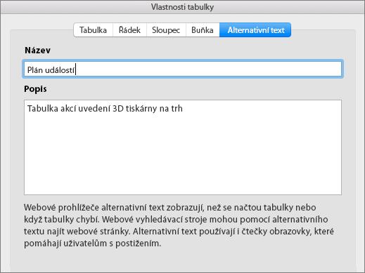 Snímek obrazovky s kartou Alternativní text dialogového okna Vlastnosti tabulky
