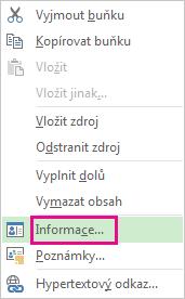 Nabídka pro zdroje zobrazená po kliknutí pravým tlačítkem myši