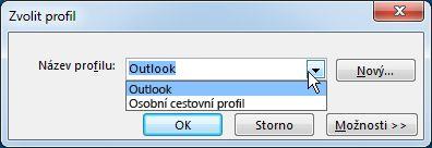 Dialogové okno výběru profilu aplikace Outlook