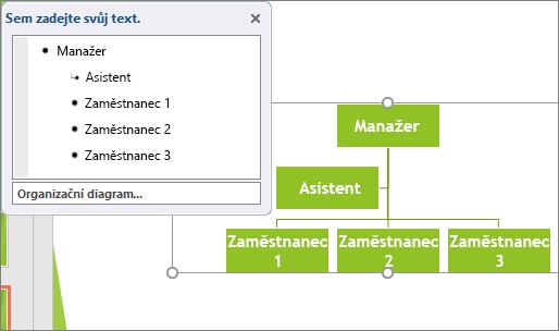 Zobrazí příklad organizačního diagramu SmartArt.
