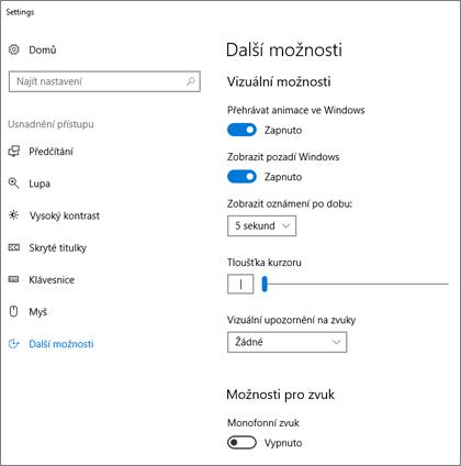 Usnadnění přístupu, podokno Další možnosti v nastavení Windows 10