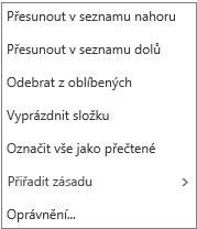 Nabídka kontextu nebo klávesových zkratek, která se zobrazí po kliknutí pravým tlačítkem myši na doručenou poštu
