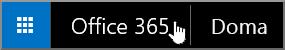 Tlačítko pro přechod na úvodní stránku Office 365