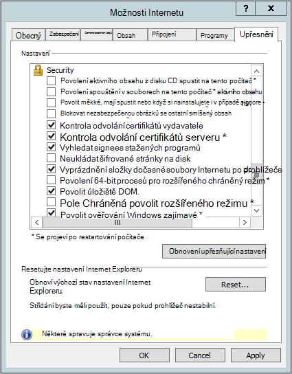 Možnosti zabezpečení aplikace Internet Explorer