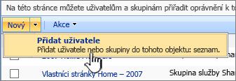 Tlačítko Přidat uživatele v rozevíracím seznamu