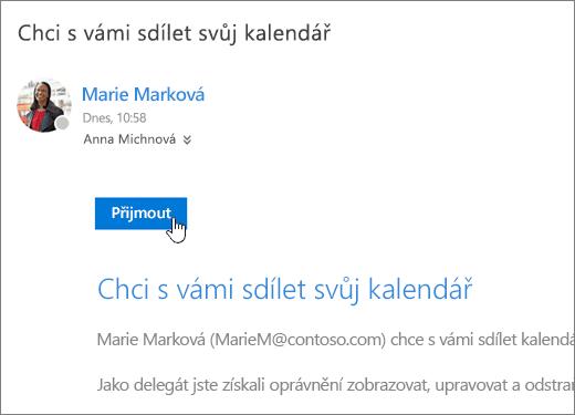 Snímek obrazovky s pozvánkou ke sdílenému kalendáři