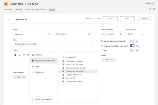 Výběr stránky onenotového poznámkového bloku předmětu, která se má připojit k zadání v Microsoft Teams