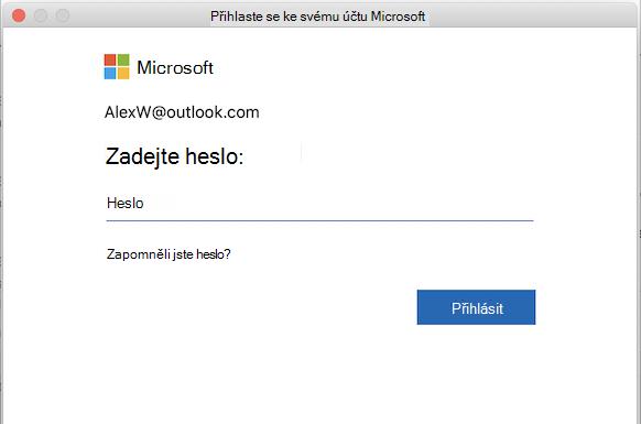 Přihlašovací stránka pro účet Microsoft v Outlooku pro Mac