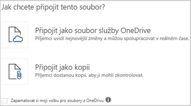 Soubor OneDrivu nebo kopii tohoto souboru můžete připojit k e-mailové zprávě.