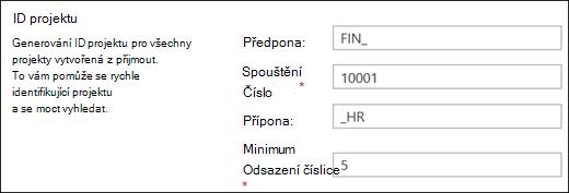 Nastavení ID projektu