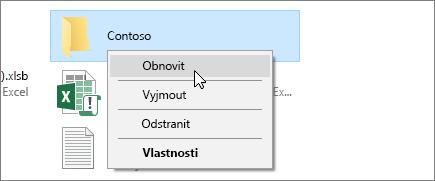 Snímek obrazovky ukazující možnost obnovení v odpadkovém koši systému Windows.