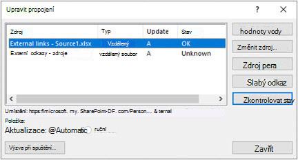 Dialogové okno pro úpravy v Excelu z > dotazy & připojení > upravit odkazy