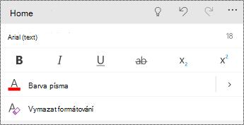 Nabídka písmo v PowerPointu pro telefony s Windows