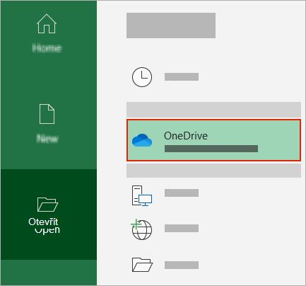Dialogové okno Office s otevřenou složkou OneDrive