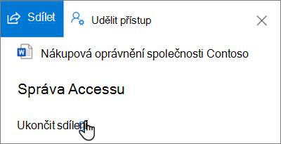 Snímek obrazovky ukončit sdílení odkaz Spravovat přístup v v podokně sdílené mnou zobrazení na Onedrivu pro firmy