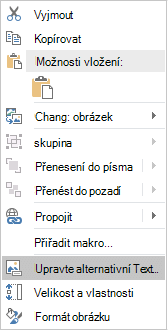 Nabídka pro úpravy alternativního textu pro obrázky v Excelu pro Win32