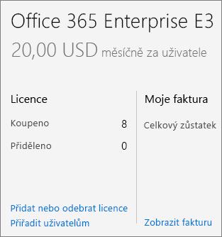 Odkaz na přidání/odebrání licencí na stránce předplatného