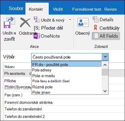 Vyberte všechna pole a zadejte informace ve formátu tabulky.