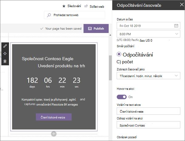 Odpočítávání webové části časovače ve vzorcích moderních podnikových cílových webů v SharePointu Online