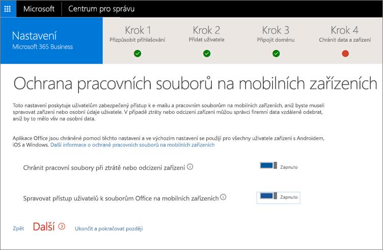 Snímek obrazovky stránky Chránit pracovní soubory na mobilních zařízení