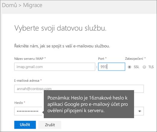 Vyplnění informací o serveru IMAP a účtu pro připojení